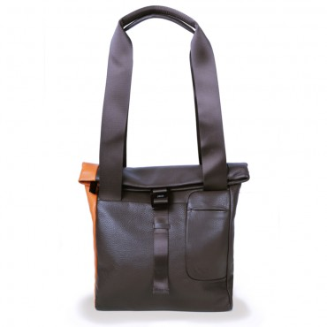 Shopper Tasche in Braun-Orange