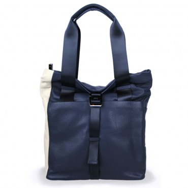 Backpack Shopper in Navy Blue and Cream