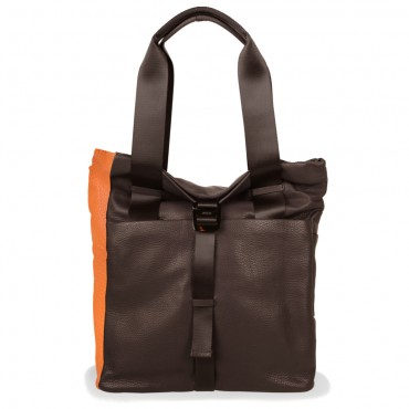Rucksack-Shopper in Braun-Orange