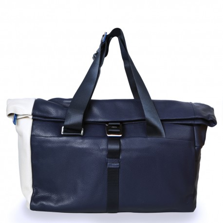 Duffle in Navy Blue and Cream