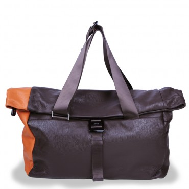 Duffle in Chocolate Brown and Orange