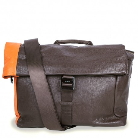 Messenger in Chocolate Brown and Orange