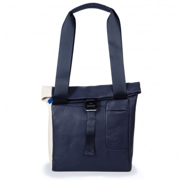Shopper Tasche in Navy Blau-Cremeweiß