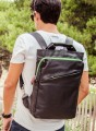 Backpack Shopper in Black and Green