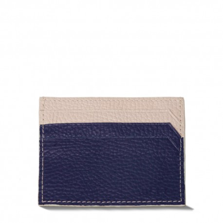 Cardholder in Navy Blue and Cream